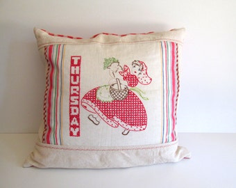 Vintage Pillow Hand Embroidered Red and White Day of Week Cottage Decor