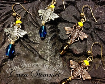 Bee Earrings, Bee Jewelry, Bumble Bee Earrings, Insect Jewelry, Apilculture, Bug Earrings