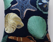 navy blue sea themed pillow over with light yellow aqua and blue  sea life embroidery notical pillow. 16x 36 inch