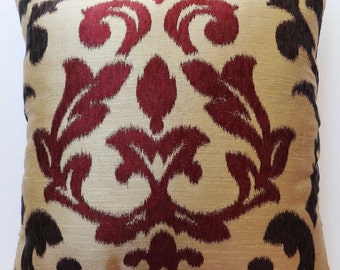 Gold and maroon damask pillow. decorative damask  pillow. modern damask pillow.  18x18 inches