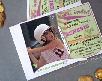 Softball Invitation - Softball Birthday - Softball Birthday Invitation - Sports Birthday - Softball Birthday Party - Baseball Invitations