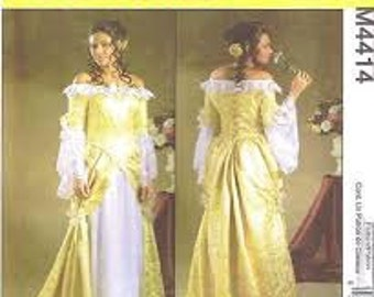 McCall 4414 Sewing Pattern Makes Misses Historic off Shoulder Gown sizes 14 16 18 20