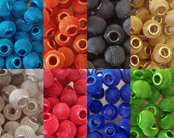5 Large Hole European Disco Mesh Metal Beads  for bracelets