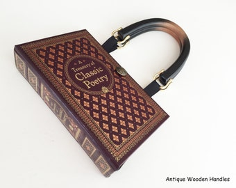 Classic Poetry Book Purse - Walt Whitman Book Clutch - Emily Dickinson Book Cover Handbag - Robert Frost Pocketbook