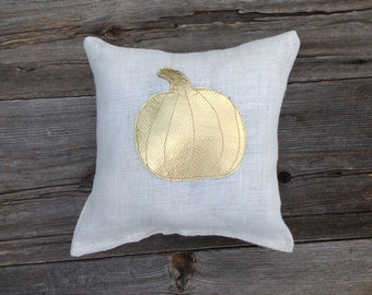 Gold Pumpkin Pillow, Pumpkin Pillow, Fall Pillow, Throw Pillow, Fall Decor,Autumn Decor, Decorative Pillow, Cushion, Rustic Decor