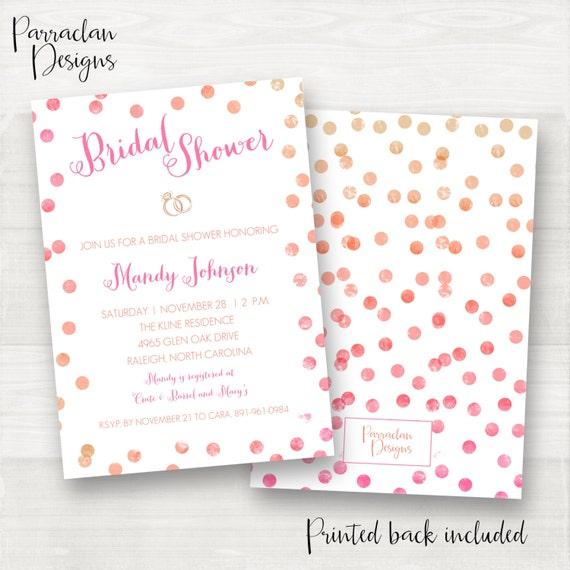 Watercolor Bridal Shower Invitation | Bridal Shower Invitation | Bridal Shower Invite | Pink | Coral | Gold | BS05