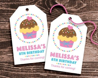 Personalized Cupcake Party Favor Tags – DIY Printable – Hang Tags (Digital File)