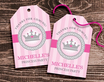 Personalized Princess Party Favor Tags – DIY Printable – Regal Princess – Hang Tags (Digital File)