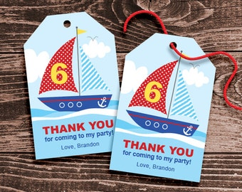 Personalized Nautical Party Favor Tags - DIY Printable - Sailboat Scene (Digital File)