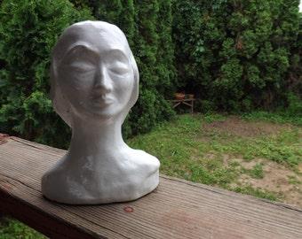 FREE SHIPPING RARE lady bust sculpture art vintage (Vault 6)