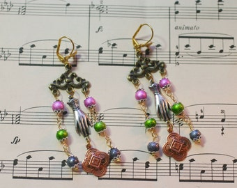 Mixed Metals French Inspired Chandelier Earrings
