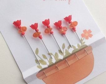 Spring Tulip Pins - Gift for Quilter Gardener - Decorative Sewing Pins - Fancy Straight Pins - Sewing Accessory - Beaded Sewing Pins