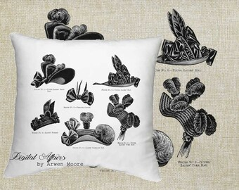 Digital Download Powder Room Collection Vintage Chic Ladies Hats Black & White Image For Papercrafts, Transfer, Pillows, Totes, Etc va016