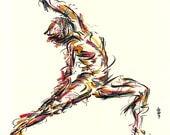 Yoga Art -- Original color drawing on paper // Warrior 2