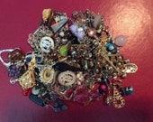 Repurpose salvage Flower Dangle Beaded Rhinestone earring lot destash harvest