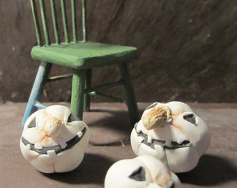 Halloween Miniature Goofy White Pumpkins- 3