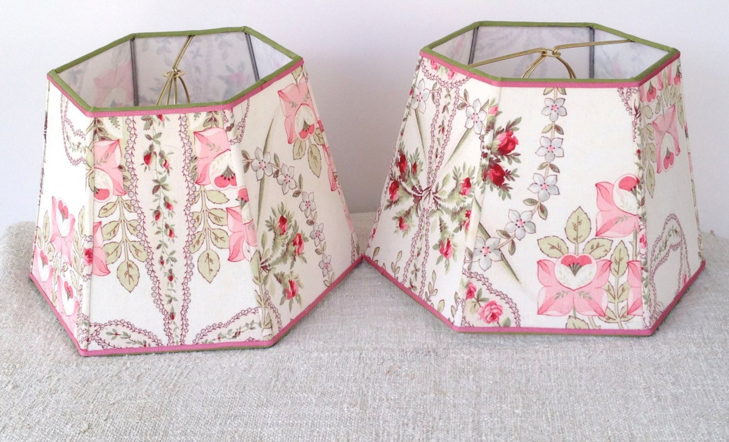 Pink French Floral Lamp Shade Lampshade Vintage Fabric Hex
