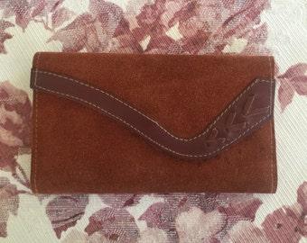 Vintage 1970s Rust Suede Bohemian Hippie Checkbook Wallet