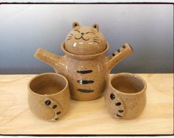 Super Cute Tabby Cat Teapot and Teacup Set by misunrie