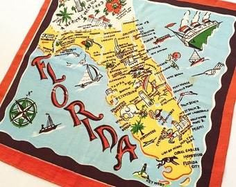 Vintage Florida handkerchief 1940s palm trees bathing beauties map souvenir Floridiana kitsch