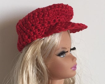 Barbie Ken Handmade Clothes Red Newsboy Hat Crocheted (S1836)