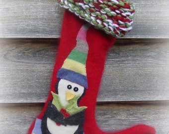 Whimsical Penguin and Narwhal Christmas Stocking