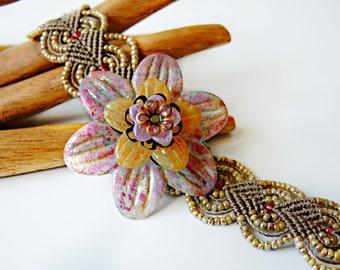 Handpainted Flower Beaded Macrame Bracelet - Romantic - Feminine Jewelry - Floral Wrist Corsage