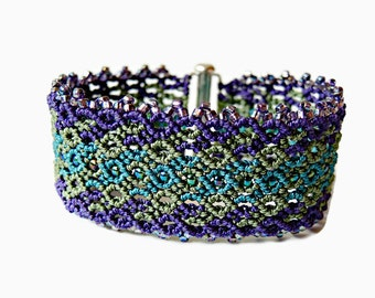 Macrame Bracelet - Curves in Purple, Olive and Teal with Beaded Picot Edging - Cuff