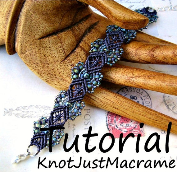 Micro macrame tutorial hydrangeas bracelet pattern beaded - Comment faire une suspension en macrame ...