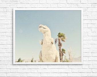 BUY 2 GET 1 FREE Palm Springs California, Dinosaur Photo, Kids Room Decor, California Wall Art, Pastels, Palm Tree Photo - Palm Springs Dino