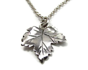 Silver Leaf Necklace - Maple Leaf Necklace -Gifts Under 40 - Gifts for Her - Everyday Necklace - Modern Necklace -Sycamore - Small Pendant