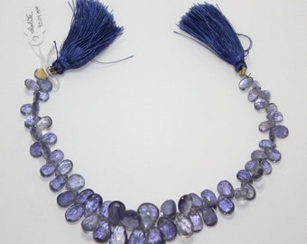 Iolite faceted briolettes, graduated 12mm to 7mm. Sold in pairs or full strand AAA gemstones destashing