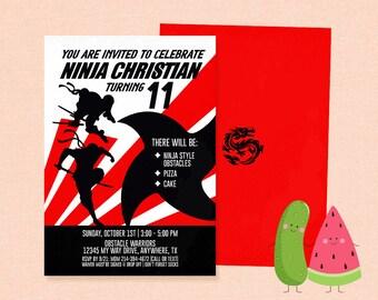 Ninja Invitation | Ninja Birthday | Karate | Party | Obstacle Warriors | American Ninja Warrior | Boy | Teen | Ninja training