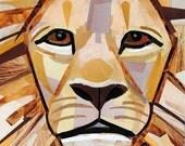Sir Lion, 7x5 inch ORIGINAL COLLAGE ART