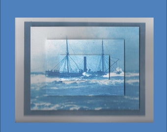 Handmade Birthday Sailing Ship Card - Masculine Cards for Men - Free Ship in USA