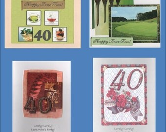 Handmade 40th Birthday Cards -- Free Shipping in USA