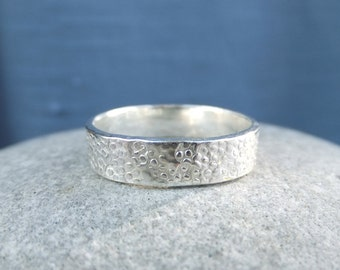Sterling Silver Textured Wide Band Ring - BUBBLES - Handmade Hand Stamped Metalwork Jewelry Jewellery - Shiny or Oxdised