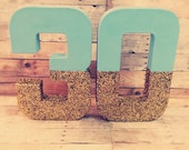 Gold glitter Letters mint block letters glam baby room decor glitter center piece baby letters birthday numbers block numbers