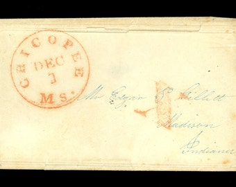 1840s Chicopee Massachusetts Red CDS Red X Hand Stamp Stampless Cover CDS I12