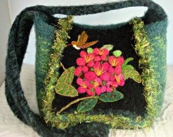 Felted Purse, wool purse, felted handbag, flower art, rhododendrum flower,hand knit purse, hummingbird art, bird art