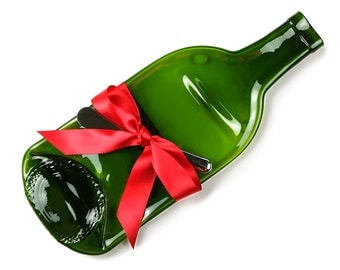 Melted Wine Bottle Cheese Tray with Cheese Spreader and Red Ribbon, Hostess Gift