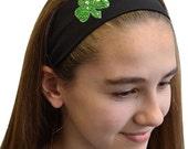Custom Sequin Shamrock Cotton Stretch Headband - Funny Girl Designs