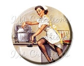 "BIG SALE - Pocket Mirror, Magnet or Pinback Button - Wedding Favors, Party themes - 2.25""- Vintage Pinup Girl Nurse MR167"