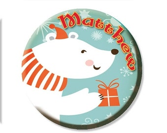 "30% OFF - Personalized Name Polar Bear Pocket Mirror, Magnet or Pinback Button - Party Favors 2.25"" MR473"