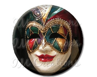 "50% OFF - Pocket Mirror, Magnet or Pinback Button - Wedding Favors, Party themes - 2.25""- Masquerade Harlequin MR265"