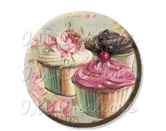 """BIG SALE - Pocket Mirror, Magnet or Pinback Button - Wedding Favors, Party themes - 2.25""""- Trio Cupcakes MR423"""