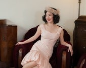 SUMMER SALE - 1950s Vintage Dress - Fantastic Pale Pink Mermaid Style Cocktail Dress with Embroidered Cherry Motif