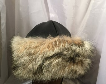 Amazing Norse, Mongolian, Russian, Viking, Cossack hat with soft black leather and full and fluffy coyote fur