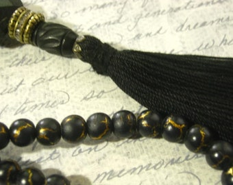 Black with Crystals Tassel Necklace