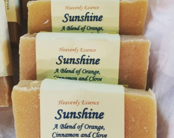 Sunshine Scented with Orange Cinnamon Clove all natural goat milk castile soap